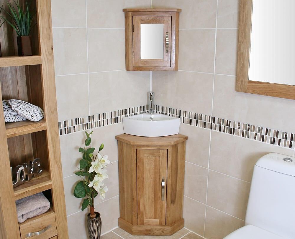 Oak Topped Corner Vanity Unit with White Ceramic Basin