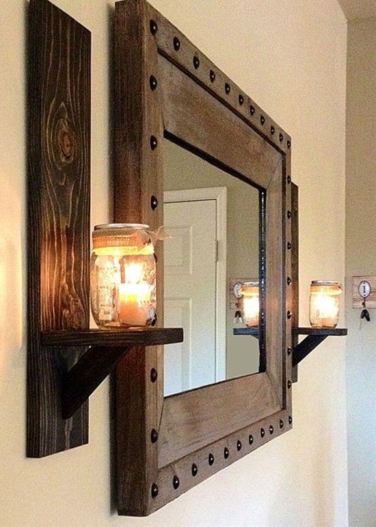 Candles Lighting up Bathroom Mirror