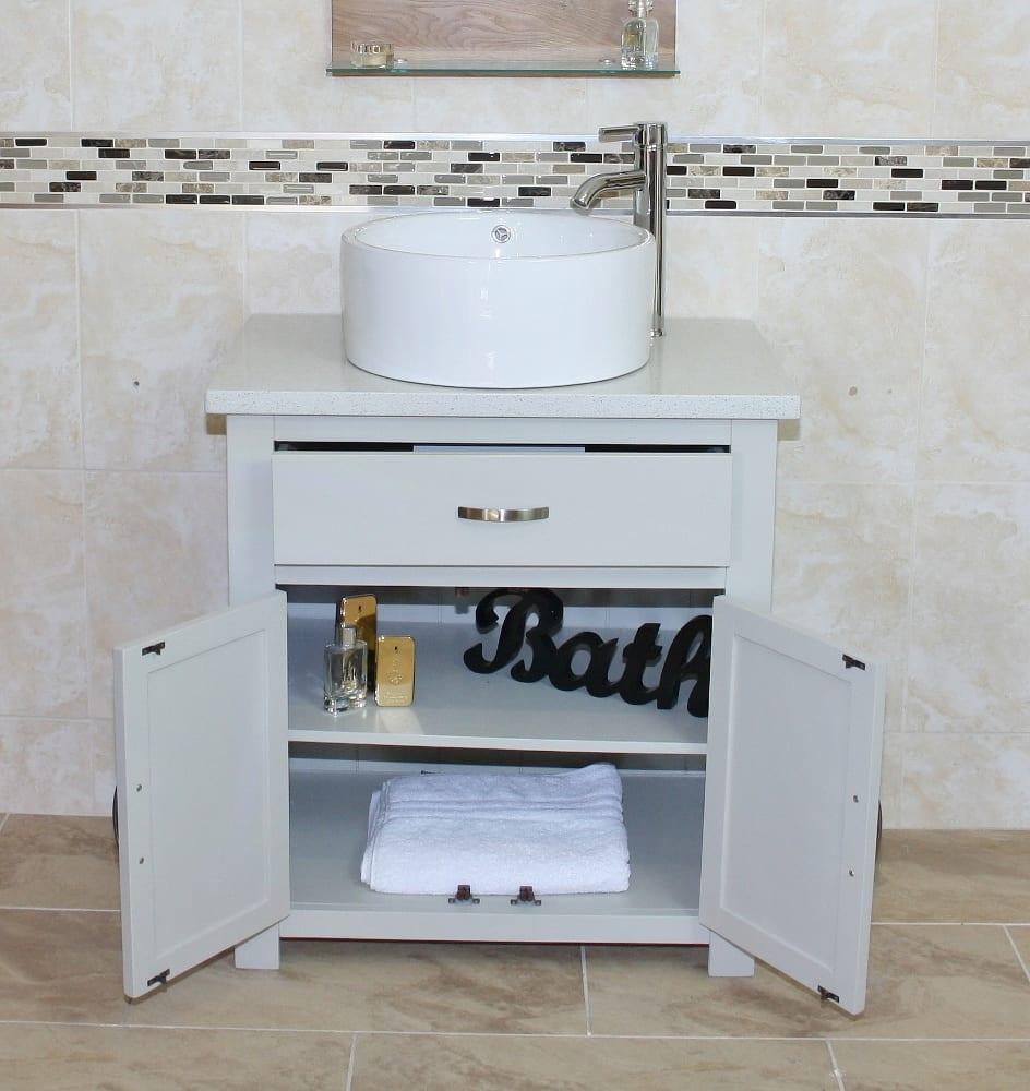 Painted Light Grey Unit   White Quartz Top Ceramic Basin Choice ...