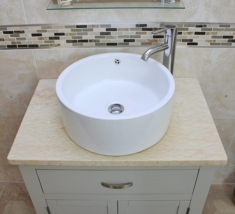 Painted Grey Unit | Cream Marble Top Ceramic Basin Choice 502GCMCBC -