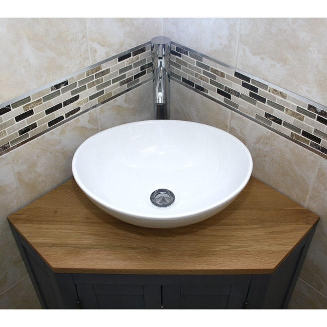 Grey Painted Oak Top Corner Unit Basin Choice 501bgcbc Bathroom Vanity Units