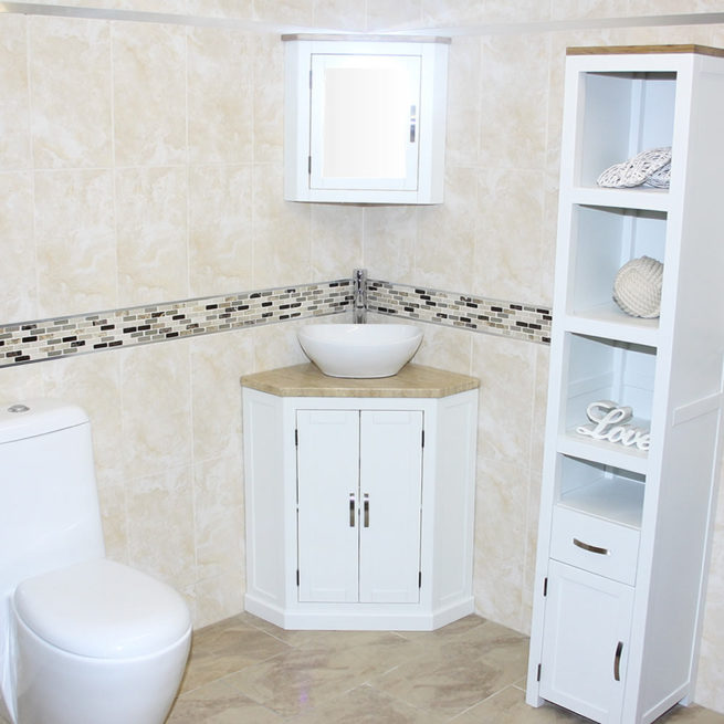 Travertine Top Corner Vanity Unit Ceramic Wash Basin
